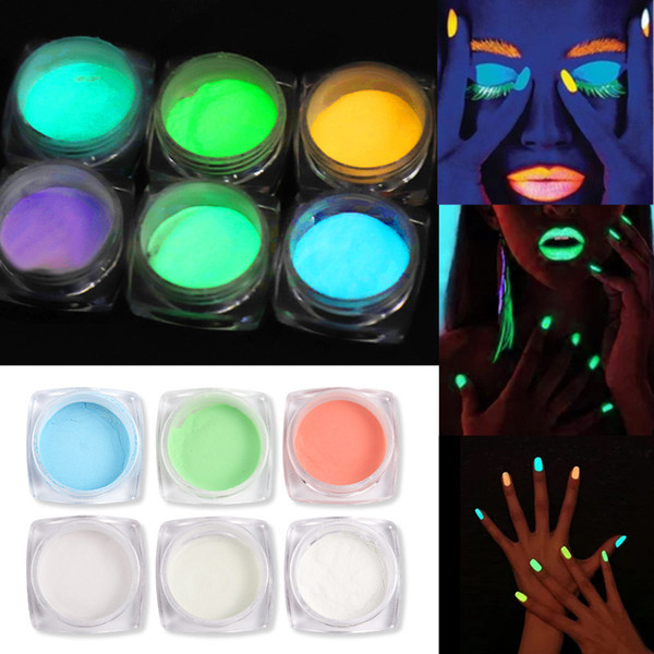 2019 neue Nail Powder Fluorescence Nail Glitter 6 Farben optional Shining Daytime Noctilucent Nail Art Dekoration
