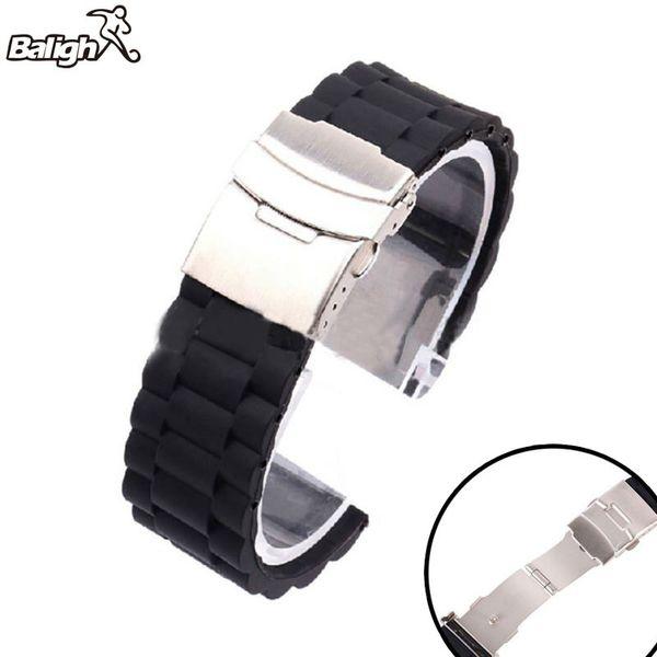 16/18/20/22 / 24mm automatique Double Boucle Cliquez papillon Bracelet de montre avec boucle déployante Fold Bracelet Boucle Bracelet