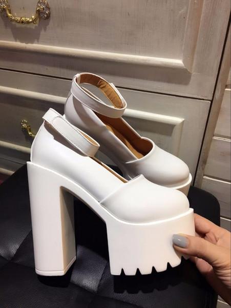 Yeni sığ ağız bayan ayakkabıları 15cm süper yüksek topuklu gece kulübü bayan ayakkabıları ile su geçirmez platformu kalın alt.