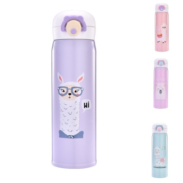 VA STUDIO 350ml 500ml Thermocup Bouncing Cover Bottle Vacuum flask Cartoon Sheep Pattern Thermal Mug Travel Thermos Gift Cup