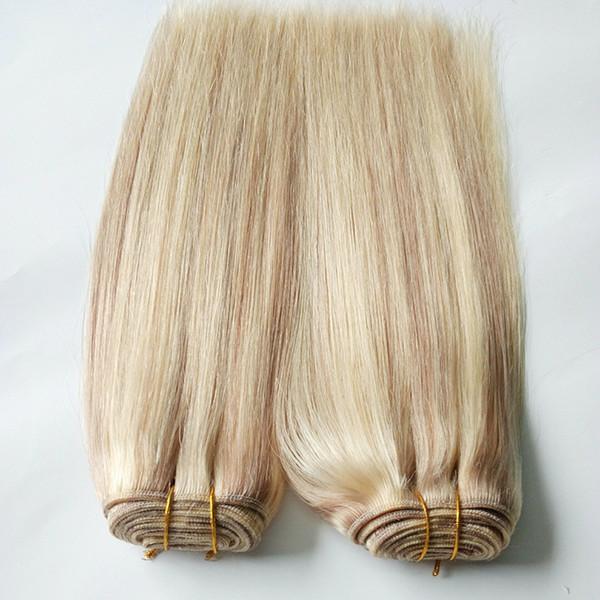 Capelli vergini malesi Colore piano per capelli 27.613 fasci di tessuto per capelli biondi vergini 100g 1 pz estensioni di capelli umani doppia trama
