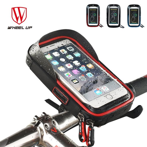 2017 Wheel Up Bike Waterproof Phone Bag TPU Touch Screen Cell Phone Holder Bicycle Handlebar Frame 6 Inch Pouch With Sun Visor #189519