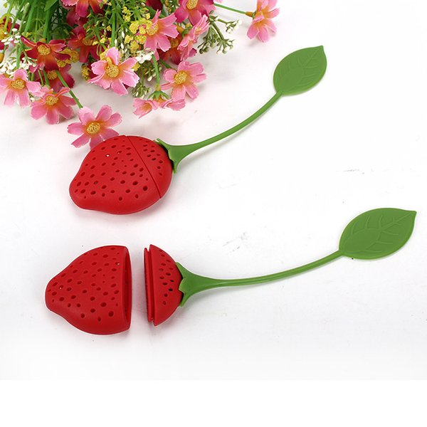 Morango Forma De Silicone Chá Infuser Filtro Chaleira Vermelha Teabag Kettle Loose Tea Leaf Coador Esfera KKA7115