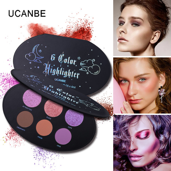 UCANBE 6 Color Glitter Eyeshadow Highlighter e Bronzer Makeup Shimmer Shine Shadow Natural Fetish Blush Contour Palette Glow Kit Powder