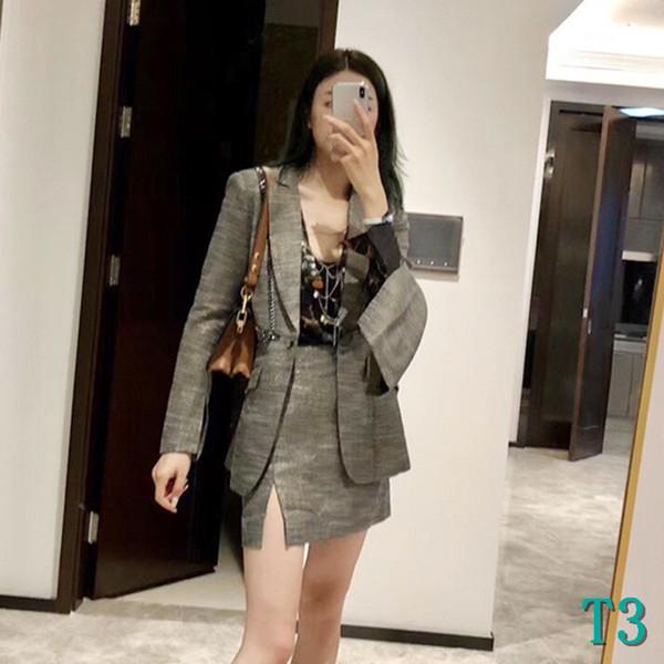 Fashion Designer Femmes Costumes de luxe Lady Blazers Mode femmes jupe automne Costumes sexy Skinny Jupe de Split Suits Taille S M LT3