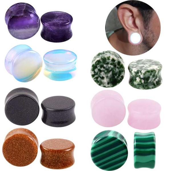 6 pair 6-16 mm Stone Ear Plugs Unisex Earlets Gauge Fashion Body Piercing Jewelry Flesh Tunnel Top Quality Piercings Earrings New Fashion