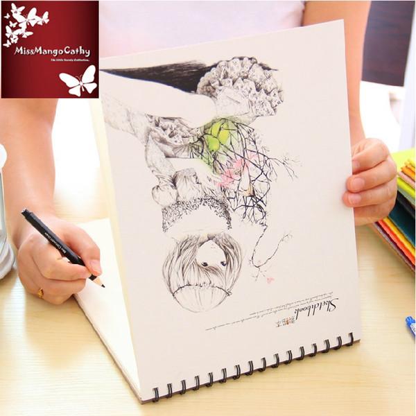 """long Hair"" Big Drawing Sketchbook Blank Papers Notepad Diary Journal School Study Art Notebook"