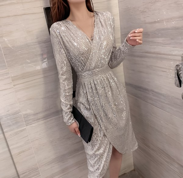 Autumn sexy women party dresses shiny bling bling dresses autumn wear woman sequins lady club
