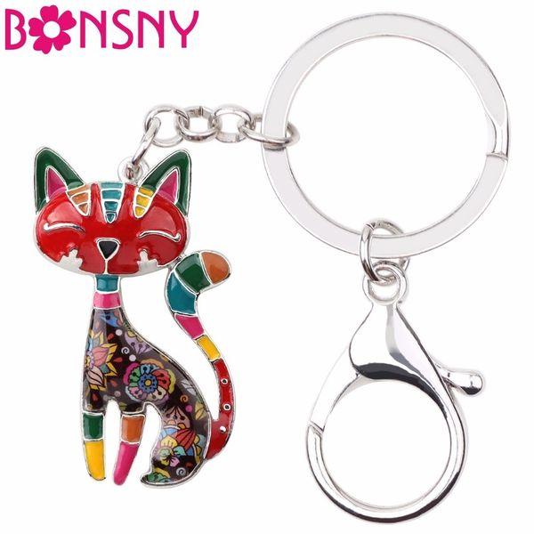 Bonsny Metal Enamel Cat Kitten Key Chain Key Ring Women Girls Handbag Pendant 2017 New Animal Jewelry Car Key Accessories C19011001