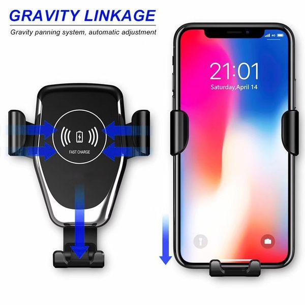 Cargador inalámbrico rápido QI Cargador de coche de gravedad compatible para Iphone X, Iphone 8, Iphone 8 Plus, para Samsung Muchos modelos