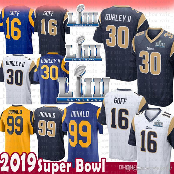 b70a6884da9 Top St.louis 16 Jared Goff 30 Todd Gurley II Rams Jersey 2019 Super Bowl