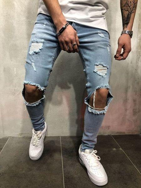 New Streetwear Men's Jeans Retro Pants Knee Hole Slim Tide Male Hiphop Ripped Personality Denim Trousers