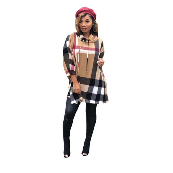 Ekose Baskı Kapşonlu Bayan Uzun Knits Lüks Tasarımcısı Batwing Sleeve O Boyun Bayan Bayanlar Moda Giyim Tops