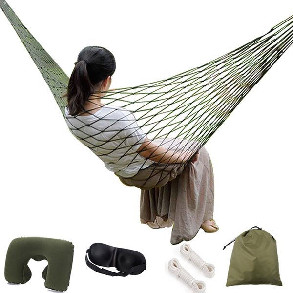 Portable Garden Nylon Hammock swing Hang Mesh Net Sleeping Bed Swing for Travel Camping Hammock Outdoor Furniture with gift Pillow/eyeshade