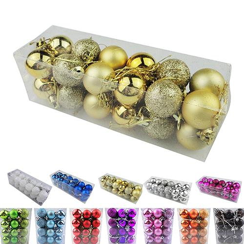 1 Bag/24pcs/lot Christmas Tree Decor Ball Bauble Hanging Xmas Party Ornament decorations for Home Christmas decorations 30cm