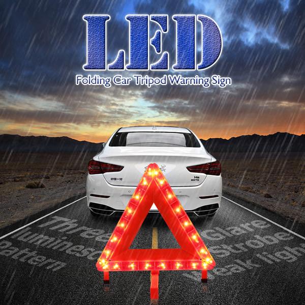 Voiture de sécurité automatique d'urgence LED réfléchissant TRIANGLE Voitures Trépied Plié Arrêt de danger rouge Panneau d'avertissement de bande réfléchissante