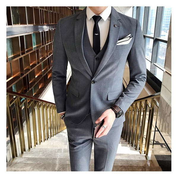 Мужчины пиджак с жилетом и брюки бизнес свадебный банкет мужчины костюм 3 шт. Размер S-4XL мужские костюмы блейзер