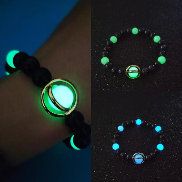 Dhl libero 2 colori fascino pietra fluorescente braccialetto luminoso 8mm perline braccialetto uomini donne braccialetto coppie gioielli regalo di compleanno 201909 m303f