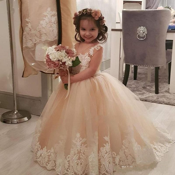 Cheap Champagne Flower Girl Dresses for Weddings Sheer Neck Tulle Lace Appliques Pearls Waist Sashes Girls Wedding Guest Dress 2019
