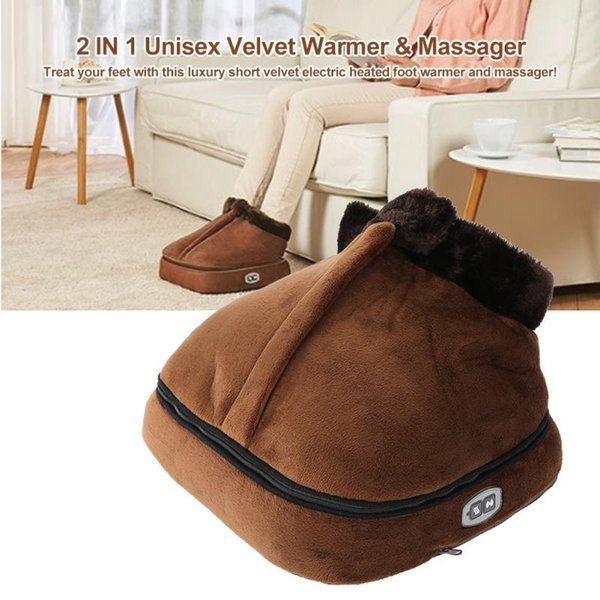 2 IN 1 Unisex Velvet Electric Heated Foot Warmer Massager Feet Massaging Heating Shoes Feet Soft Big Slipper EU US Plug