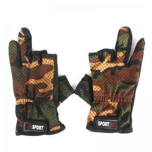 Outdoor Anti-slip Camouflage Fishing Glove 3Low-Cut Fingers Gloves Breathable Wear Resistant Camping Hiking Tactical Gloves WWA95