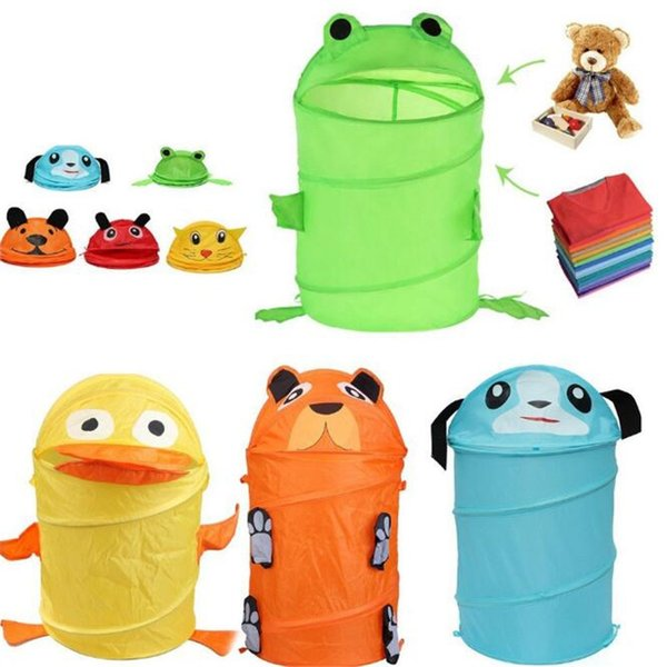 Toy Container Toy Storage Box Folding Bucket Laundry Cylinder Basket for Toys Cute Cartoon Animal Beetle Frog