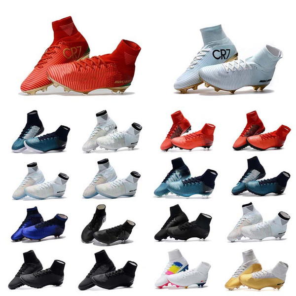 top popular Hot 2019 Mens Woman Kids Football Boots Superfly V TF IC FG Soccer Shoes Mercurial Superfly V Ronalro CR7 Soccer Cleat 2020