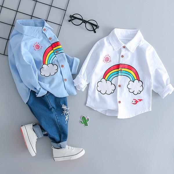 Милый малыш мальчики мультфильм Радуга печати тройники и джинсовые брюки 2 шт. наборы наряды конфеты синий белый цвет весна осень одежда