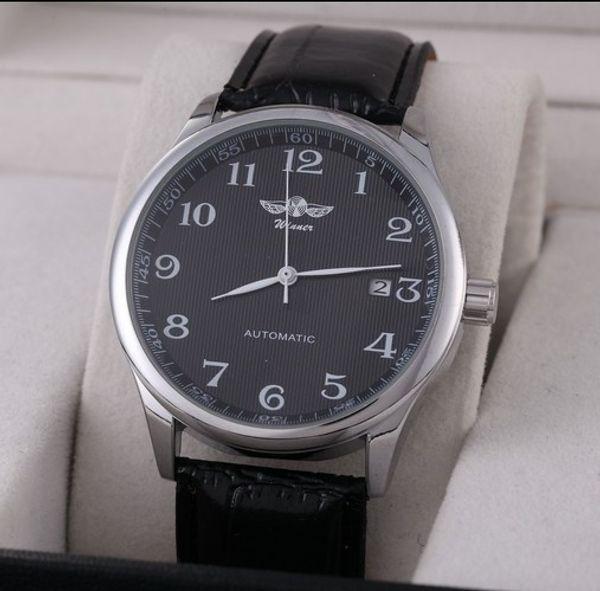 Kazanan İzle Otomatik Erkek Saatler İş Klasik Otomatik Tarih Gün Deri Kayış İskelet Öz-rüzgar Kol SaatiMX190706