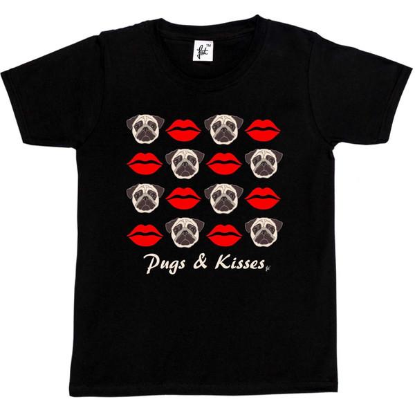 Pugs & Kisses Red Lipstick Lips Kids Boys / Girls T-Shirt size discout hot new tshirt harajuku Summer 2018 tshirt