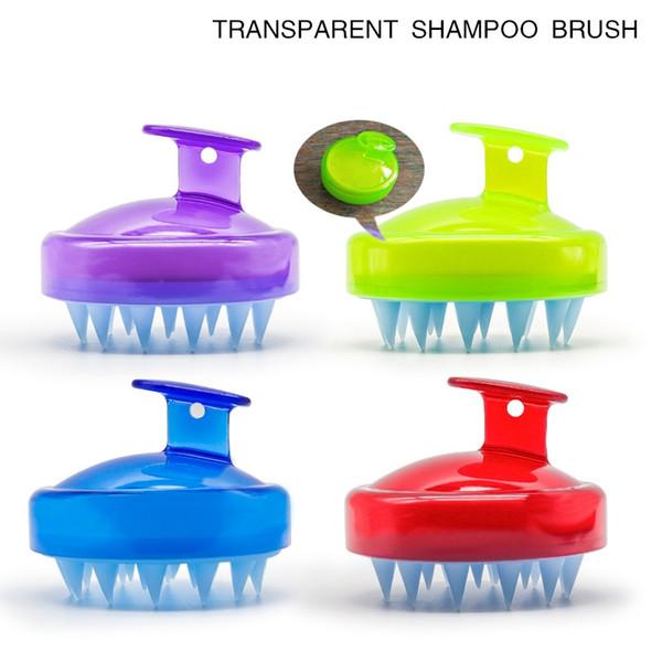 Champú cuero cabelludo masaje cepillo cómodo de silicona lavado del cabello peine baño corporal adelgazante masaje cepillos personal salud AAA1819