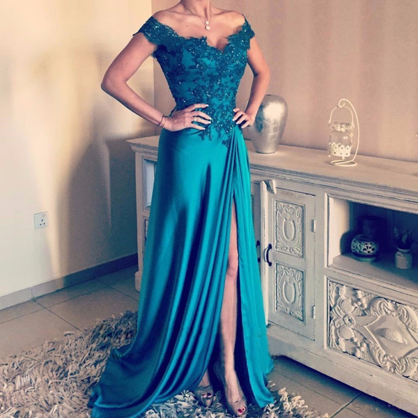 Turquoise Evening Dresses Long robe de soiree A line Formal Dress vestido longo de festa Long Prom Gowns Bateau Sleeveless