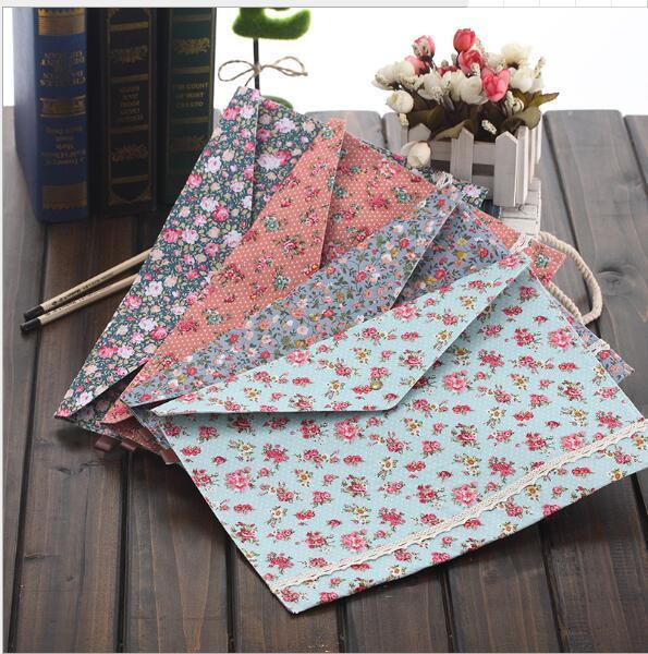 Cute Korean Style Little Flowers Fabric A4 File Folder Document Filing Bag School Office Supply Storage Bag