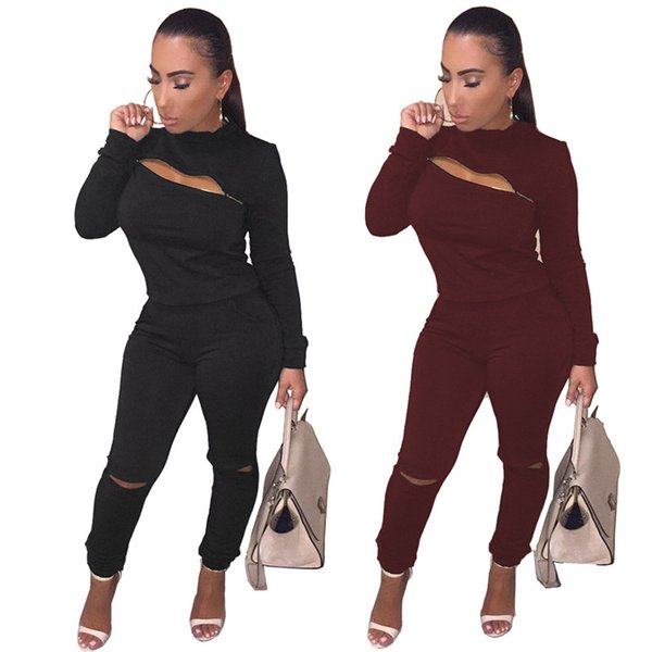 Women Plus Size Fall Winter Ripped Clothing 2 Piece Set Hoodies Suits Zipper Pullover Leggings Outfits Hole Jogger Suit Tracksuit 1779