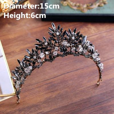 2019 NEW arrival wedding Tiara Bridal Hair Accessories Crown Luxury Headpiece Baroque Bronze Black Crystal Bridal Hairbands Prom Queen
