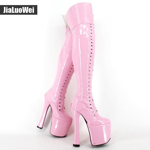 Jialuowei design 8 pollici estremo tacco alto feticcio sexy sopra il ginocchio della coscia tacco alto della piattaforma punta rotonda Stivali elastiche più il formato