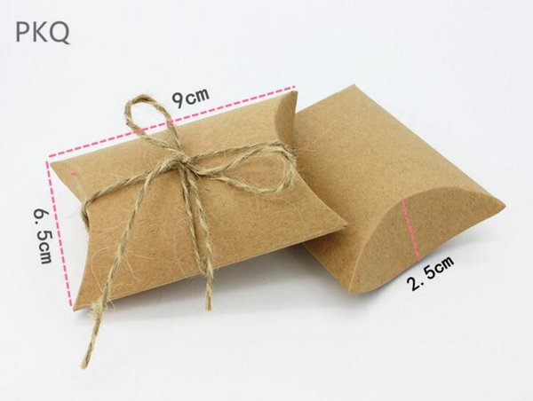 100pcs wholesale kraft paper pillow box small gift bag wedding christmas party sweet packaging box with rope