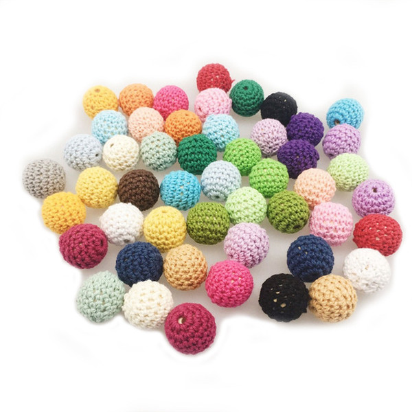20mm DIY Wooden teether Baby Teether Toys Wooden Crochet beads Round Beads Nursing Jewelry Accessories Handmade Necklace Bracelet