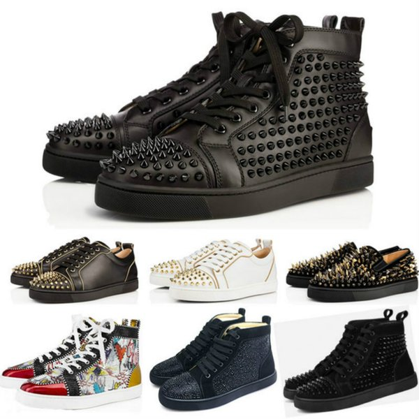 2019 designer Brand Studded Spikes Flats shoes Red Bottoms shoes luxury Mens Women Party Lovers Genuine Leather Sneakers size 36-46 a2211