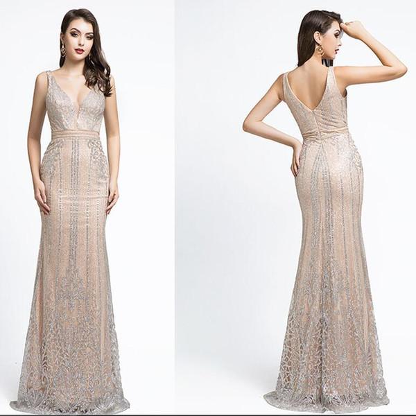 2019 Luxury Mermaid Evening Dresses yousef aljasmi sexy v neck beaded crystal arabic Prom Formal Gowns vestidos de fiesta 5496