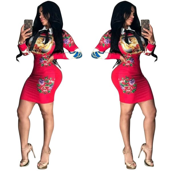 Women's Sexy Dress 2019 Spring New Arrival Tight Skirt Stand Collar Sexy Printed Clothing Long-sleeve Multi-color Optional
