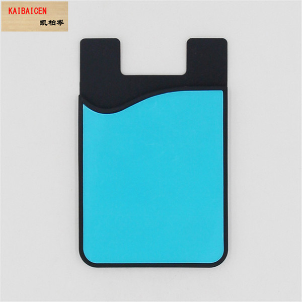 Sublimation blank Silicon Credit Pocket Adhesive DIY Cell Phone Holder ID Card Holder Slim Case sticker with soft PET sheet