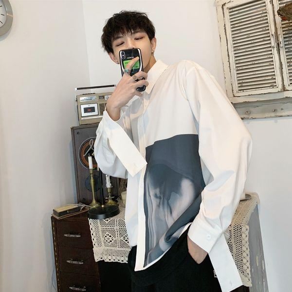 printed long sleeve men shirts slim white korean male fashion ulzzang youth indie pops loose casual fashion men clothes 50cs