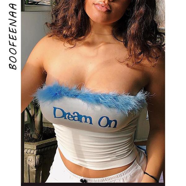 BOOFEENAA Sexy Federn Brief Stickerei Weiß Rohr Crop Top Frau Tanks Sommer Kleidung für Frauen T-shirt Street Fashion C70G69