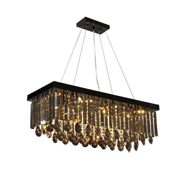 Yeni kısılabilir dikdörtgen dumanlı gri kristal avize işık modern kolye avizeler aydınlatma yemek odası yatak odası led lambaları asılı