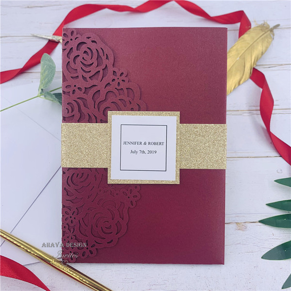 best selling Luxury Burgundy Rose Laser Cut Pocket Wedding Invitations With Glitter Gold Belly Bands And Tags, Customized Invite And RSVP card