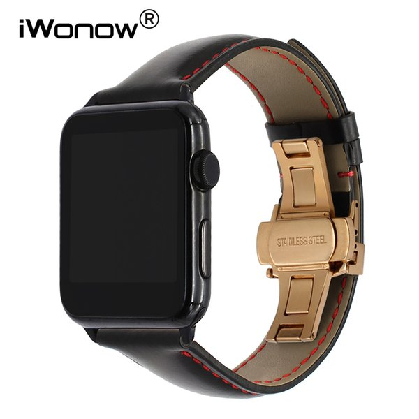 Italy Calf Genuine Leather Watchband For 38mm 40mm 42mm 44mm Iwatch Apple Watch Series 1 2 3 4 Butterfly Buckle Band Wrist Strap T190620