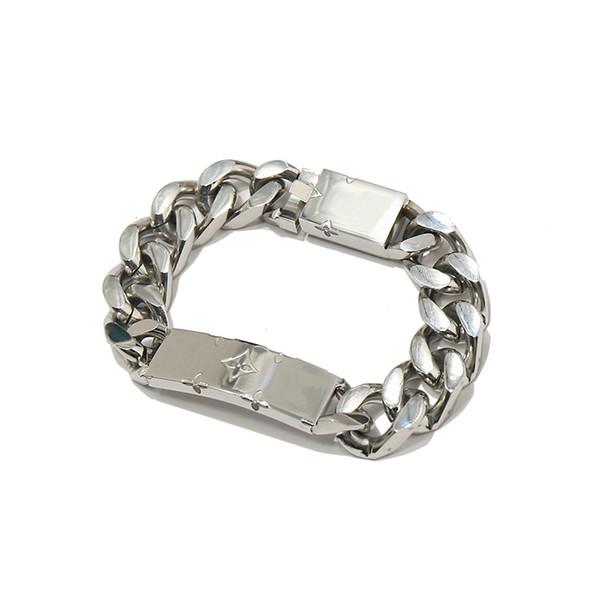 Gold color Men iced out Stainless steel Brand L bracelets fashion rhinestone Miami cuban link chain hip hop V bracelet
