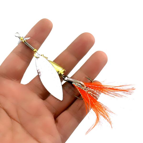 HENGJIA Spoon Fishing lure Metal Jig Bait Crankbait Casting Sinker Spoon With Feather Treble Bass sea lure Wobbler Pesca tackle