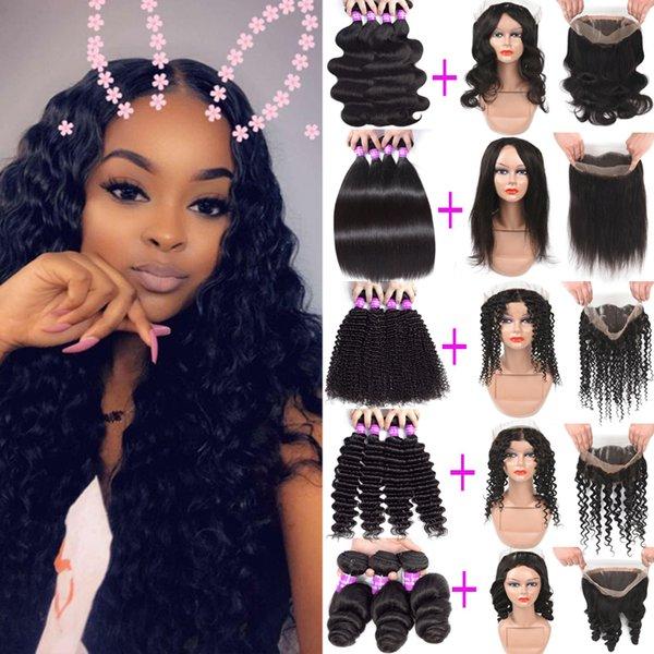 Pacotes de cabelo humano remy virgem brasileiro com 360 frontal do laço completo 100% cabelo humano não processado onda profunda em linha reta crespo encaracolado com fechamento